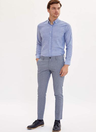 DeFacto Çizgili Slim Fit Gömlek Mavi